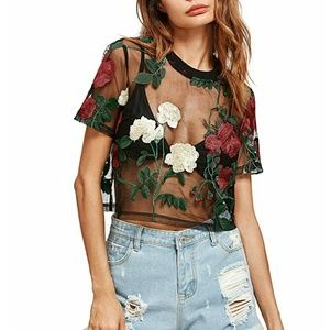 Floral Mesh Cropped Top